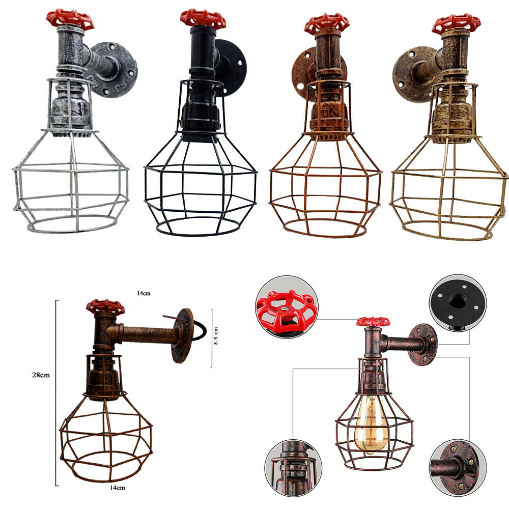 Vintage pipe lamps clipart vector black and white Details about Water pipe Ceiling Wall Light Vintage Industrial Rustic  Steampunk 4 Colours vector black and white