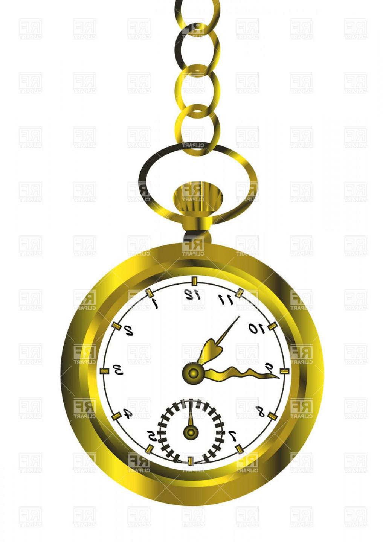 Vintage pocket watch graphic clipart image free Retro Golden Pocket Watch Vector Clipart   HandandBeak image free
