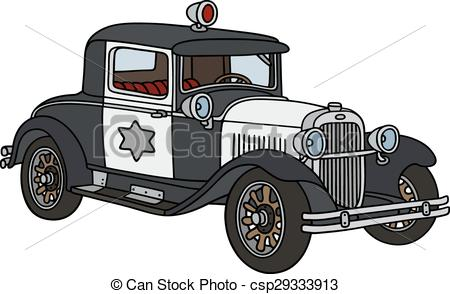 Vintage police car clipart freeuse stock Vector Clip Art of Vintage small police car - Hand drawing of a ... freeuse stock
