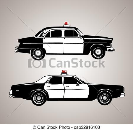 Vintage police car clipart png royalty free download Vector Clipart of Vintage Police Cars - Profile set of antique ... png royalty free download