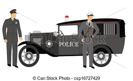 Vintage police car clipart image transparent stock Vector Illustration of vintage police car with police - policemen ... image transparent stock