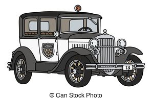 Vintage police car clipart banner transparent library Clip Art Vector of Old police car - Hand drawing of a classic big ... banner transparent library