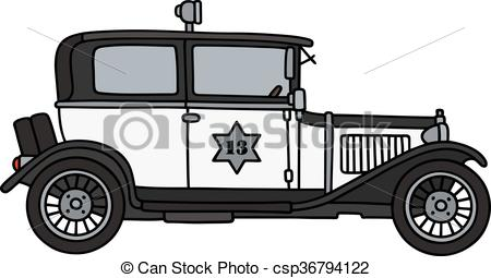 Vintage police car clipart picture download Vector Illustration of Vintage police car - Hand drawing of a ... picture download