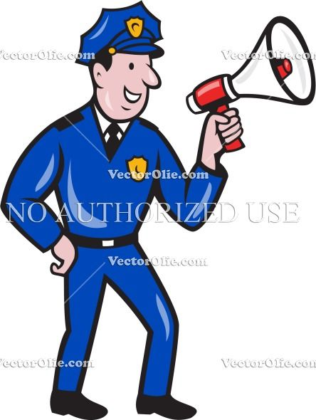 Vintage police officer clipart png freeuse download bullhorn, cartoon, illustration, isolated, law enforcement ... png freeuse download
