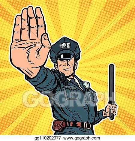 Vintage police officer clipart jpg library Vector Clipart - Police officer stop gesture. Vector ... jpg library