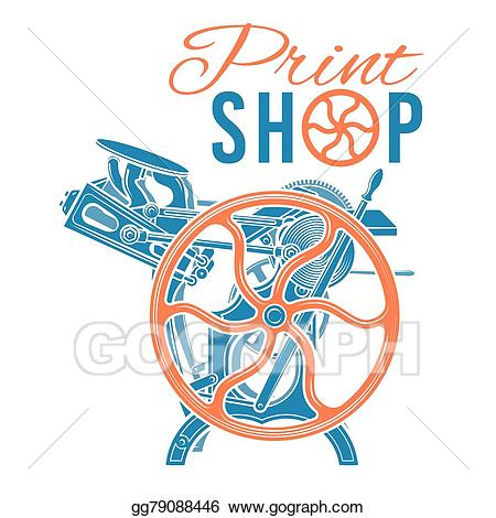 Vintage print clipart vector transparent stock Vector Stock - Letterpress print shop vector illustration ... vector transparent stock