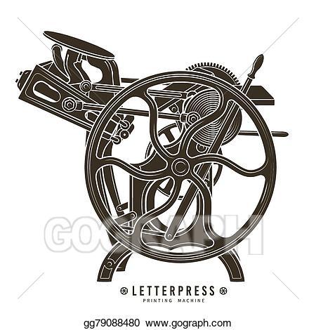 Vintage print clipart png library download Vector Illustration - Letterpress printing machine vector ... png library download