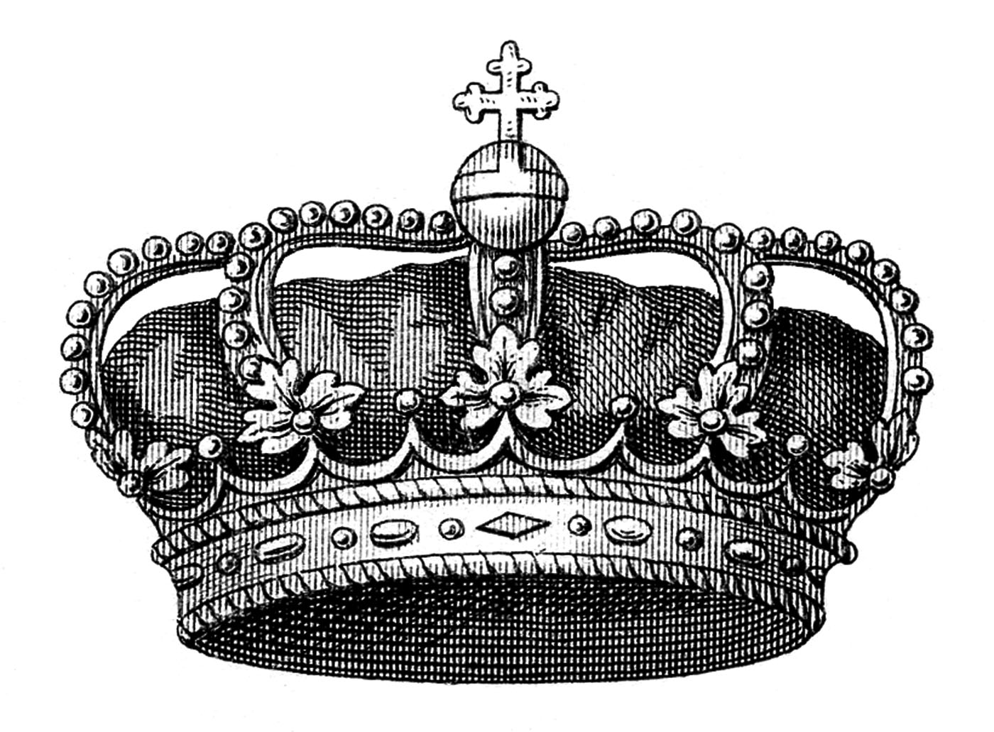 Vintage queen crown clipart png black and white Vintage Clip Art - Another Fabulous Crown - The Graphics Fairy png black and white