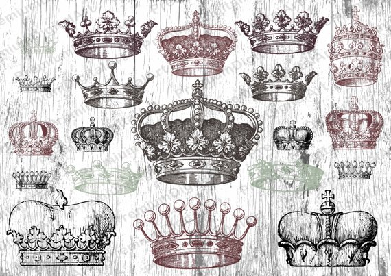 Vintage queen crown clipart picture stock 20 Vintage Retro Crown clipart, Ornate floral elements, Gold ... picture stock
