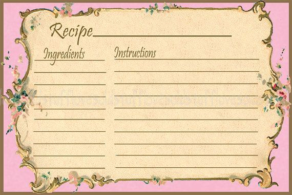Vintage recipe card clipart clip free library Recipe Card 4x6 Printable Digital Vintage Floral | Vintage ... clip free library