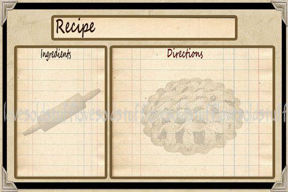 Vintage recipe card clipart svg stock Vintage Recipe Card Template | recipie card pie | Primitive ... svg stock