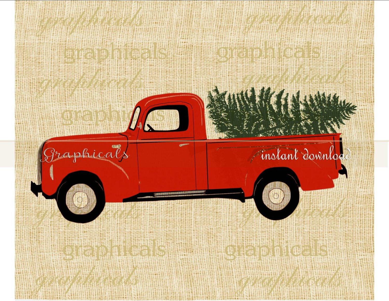 Vintage red truck clipart image stock Red Christmas Truck Coloring Page image stock