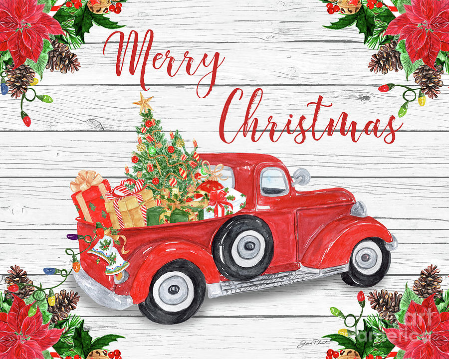 Vintage red truck clipart svg black and white library Vintage Red Truck Christmas-a svg black and white library