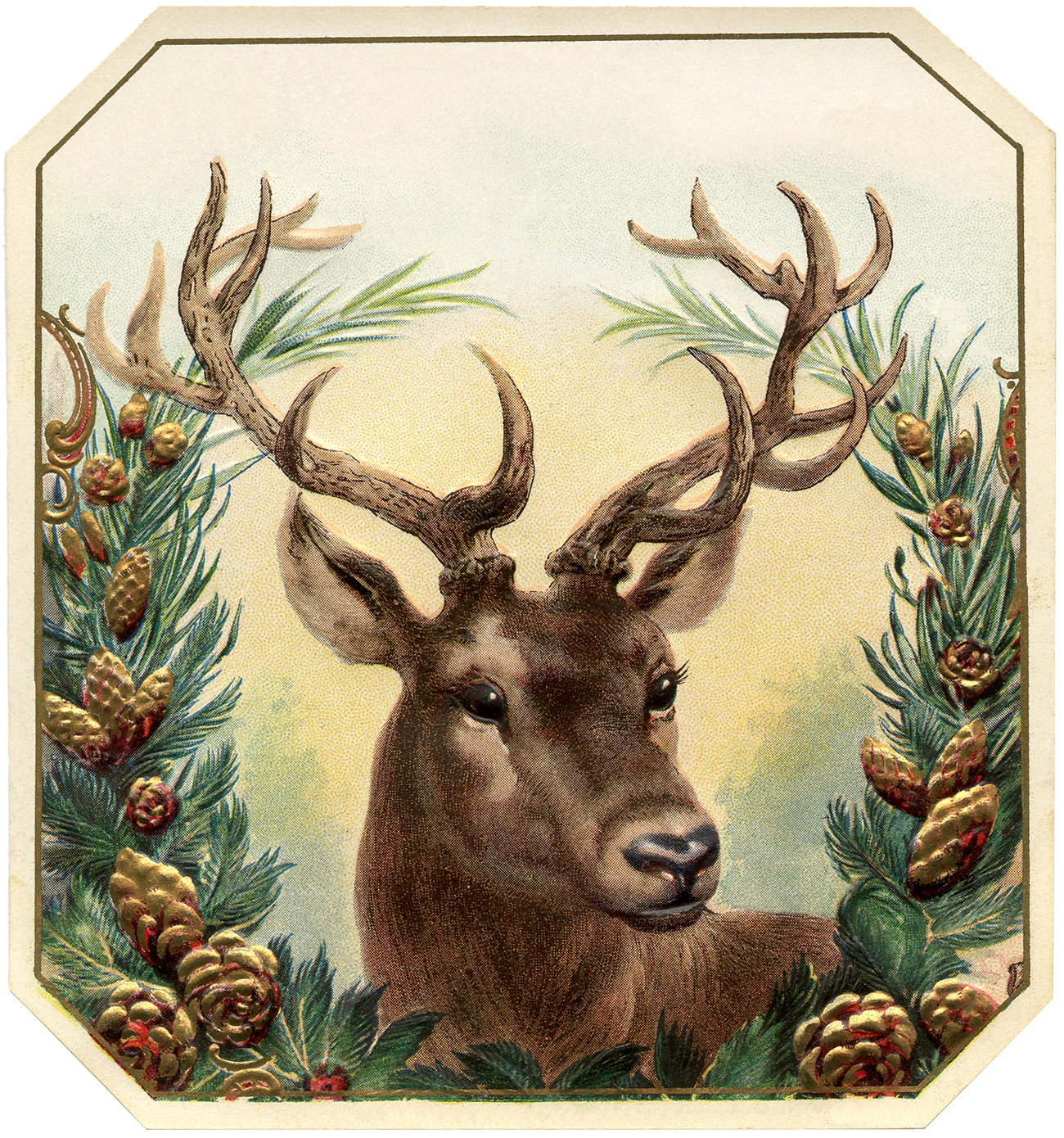 Vintage reindeer head clipart jpg black and white library 12+ Deer and Antlers Clipart! - The Graphics Fairy jpg black and white library