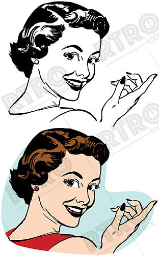 Vintage retro clipart woman banner library library A smiling attractive woman looking over her shoulder and ... banner library library