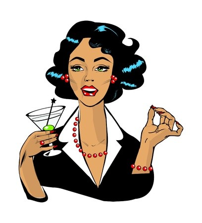 Vintage retro clipart woman black and white stock Woman drinking martini or cocktail retro vintage clipart ... black and white stock