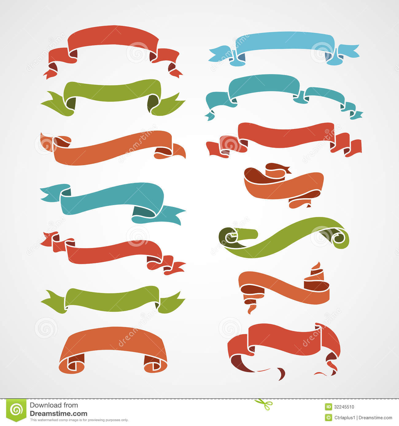 Vintage ribbon logo clipart png royalty free Full Color Set Of Vintage Ribbons Stock Photo - Image: 32245510 png royalty free