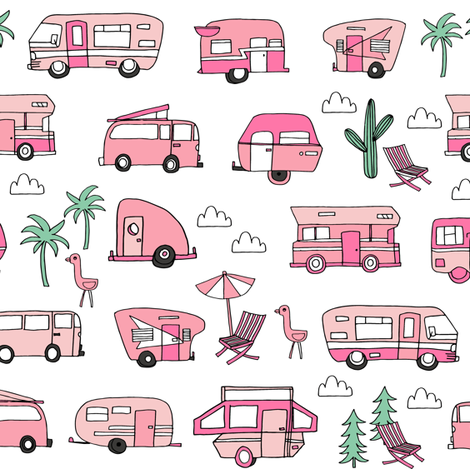 Vintage roadtrip clipart image royalty free stock vintage camper van fabric // rv road trip design - pink ... image royalty free stock