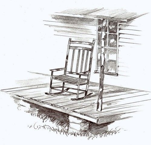 Vintage rocking chair clipart graphic black and white library clipart of porches | Old Rocking Chair On Front Porch Front ... graphic black and white library