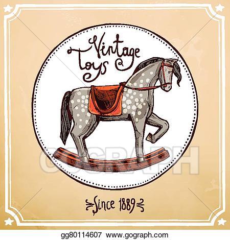 Vintage rocking horse clipart image free EPS Illustration - Vintage rocking horse. Vector Clipart ... image free