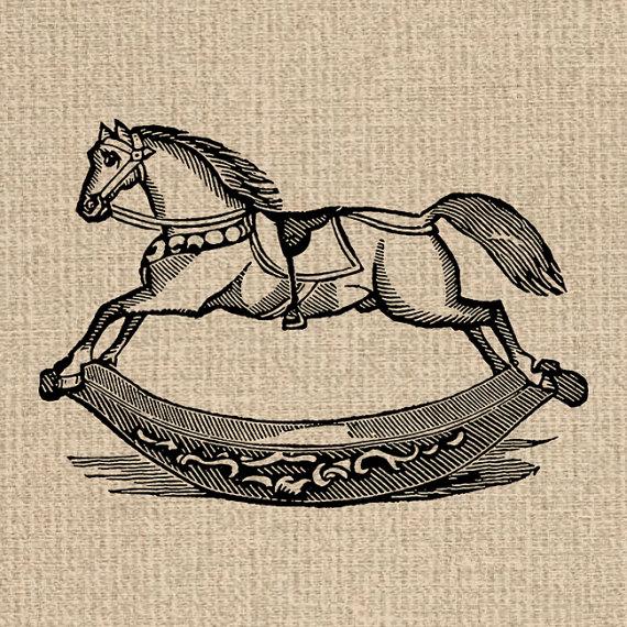 Vintage rocking horse clipart png royalty free download Printable Rocking Horse Image Antique Toy Illustration ... png royalty free download