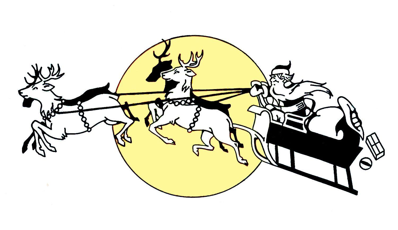Vintage santa sleigh clipart