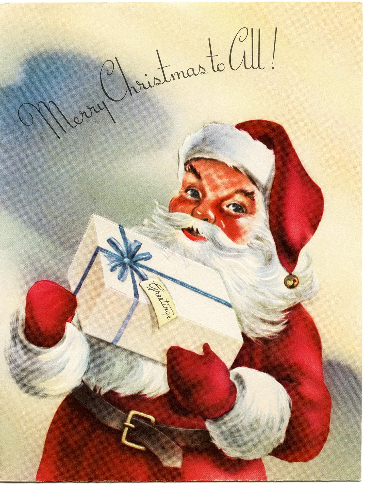 Vintage santa sleigh clipart graphic transparent Vintage Santa Greeting Card ~ Free Graphics - Old Design ... graphic transparent