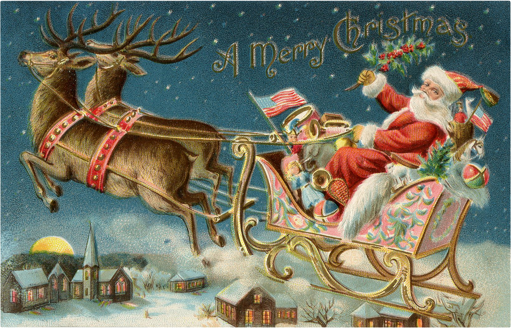 Vintage santa sleigh clipart banner free library 10 Santa Sleigh Images and More! - The Graphics Fairy banner free library