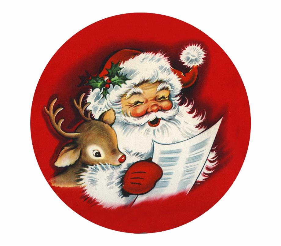 Vintage santa sleigh clipart clip art freeuse Santa And Reindeer Reading Wish List - Santa Claus Vintage ... clip art freeuse