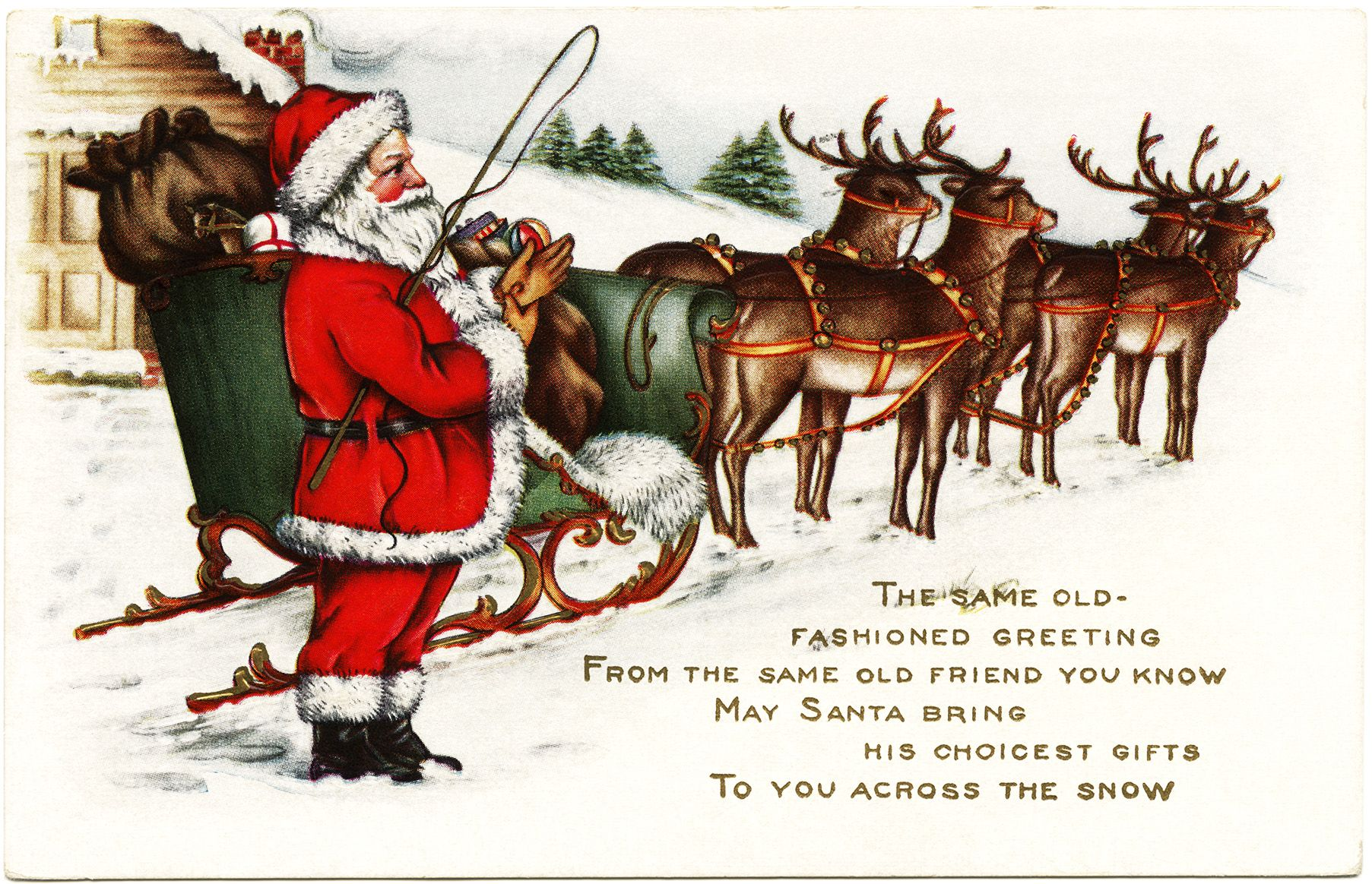 Vintage santa sleigh clipart jpg royalty free stock Victorian Christmas postcard, vintage santa clip art, old ... jpg royalty free stock