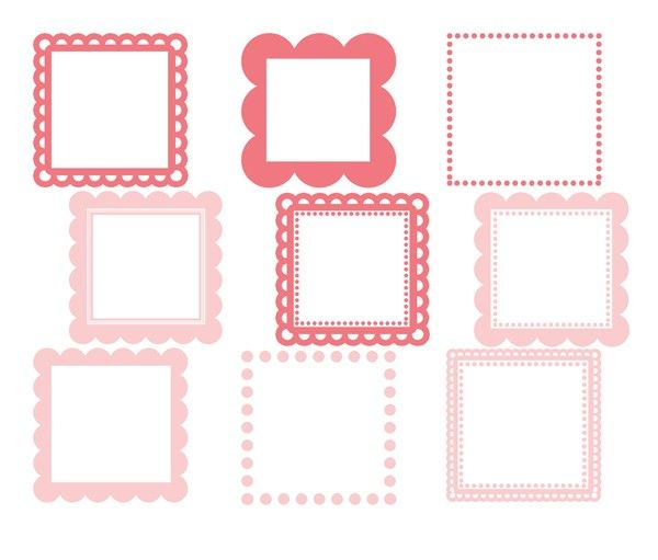 Vintage scalloped clipart svg stock Scalloped Square Frames (Baby Pink) - Personal and ... svg stock