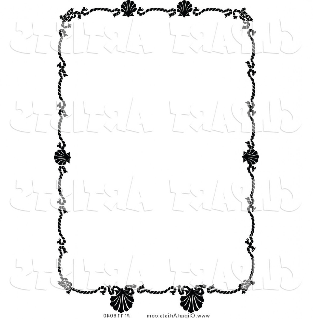 Vintage scalloped clipart image free library Vector Clipart Retro Vintage Black And White Rope And ... image free library