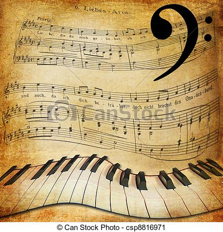 Vintage sheet music clipart picture free stock Stock Photography of warped piano and music sheet background ... picture free stock