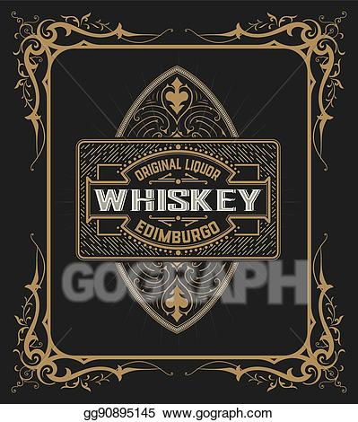 Vintage shield clipart svg black and white download EPS Vector - Vintage shield for whiskey packing. Stock ... svg black and white download