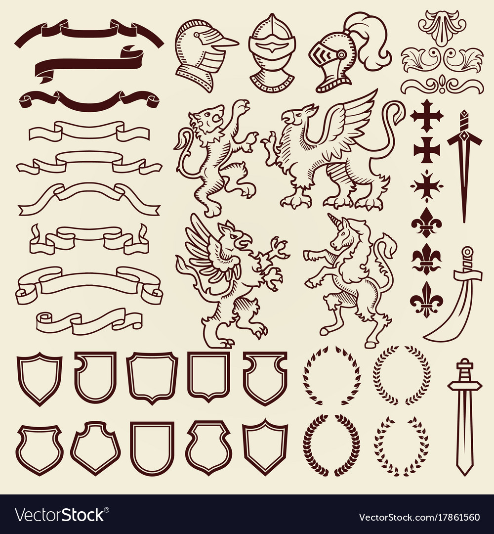 Vintage shield clipart graphic free download Heraldic design vintage retro shield clipart royal graphic free download