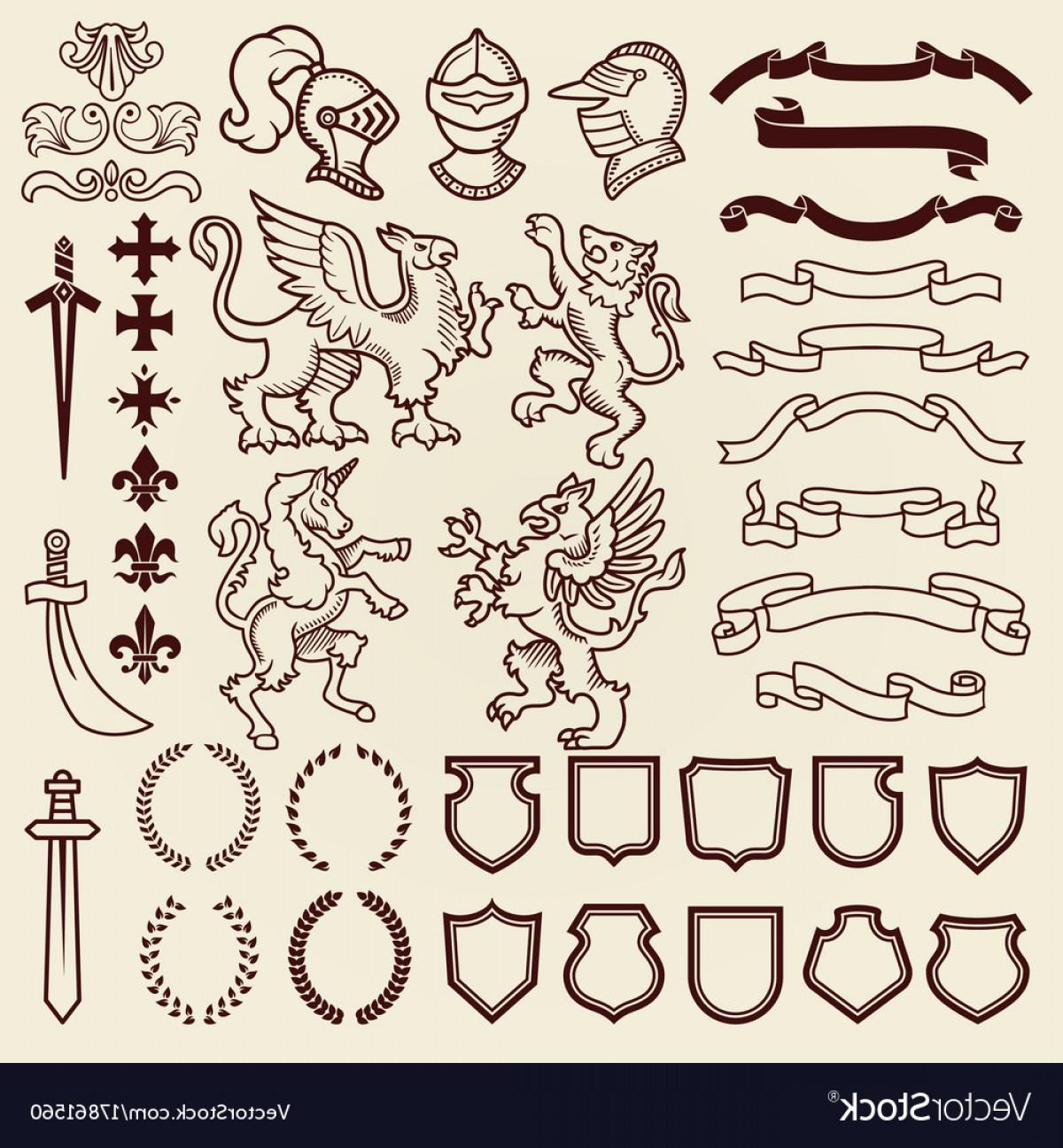 Vintage shield clipart clip stock Heraldic Design Vintage Retro Shield Clipart Royal Vector ... clip stock
