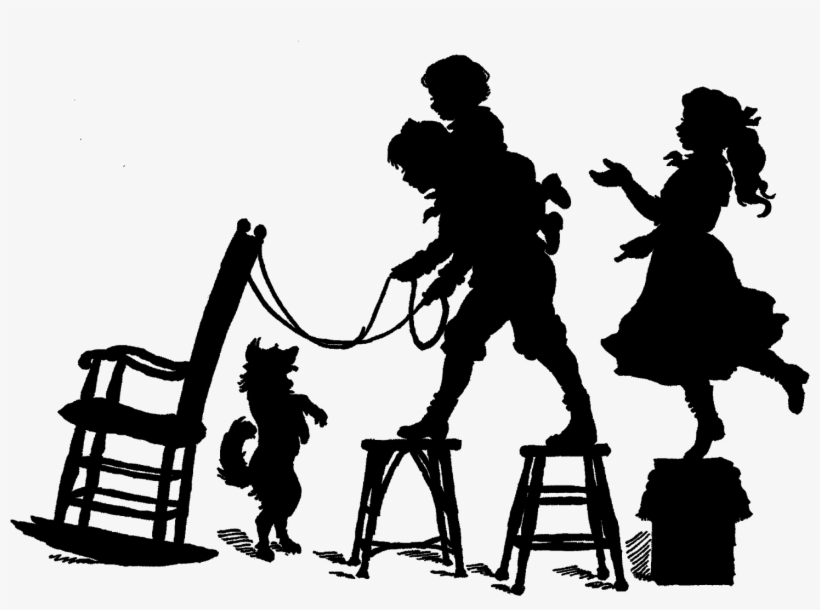 Vintage silhouettes clipart image download Vintage Silhouette Victorian Children Playing - Vintage ... image download