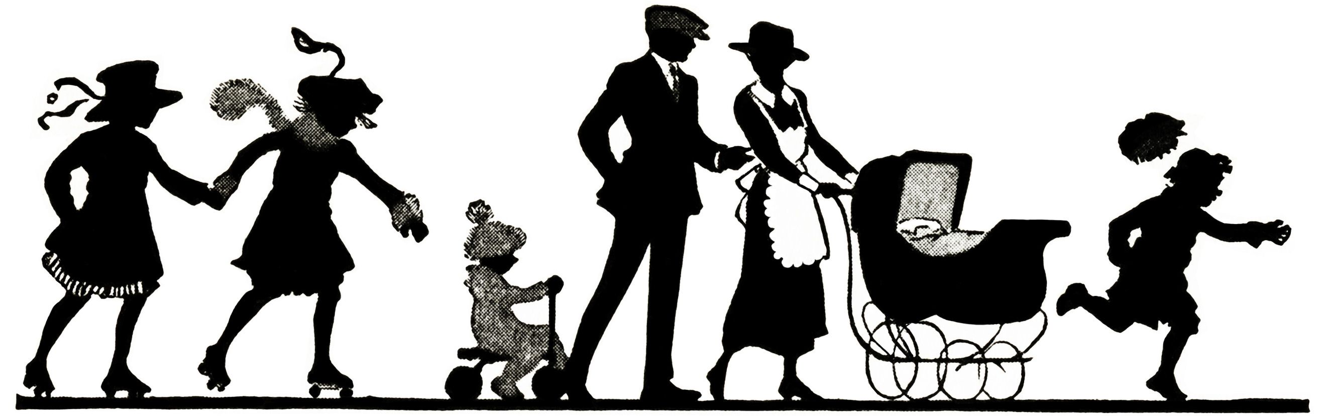 Vintage silhouettes clipart picture transparent library vintage silhouettes | free vintage clipart, family ... picture transparent library