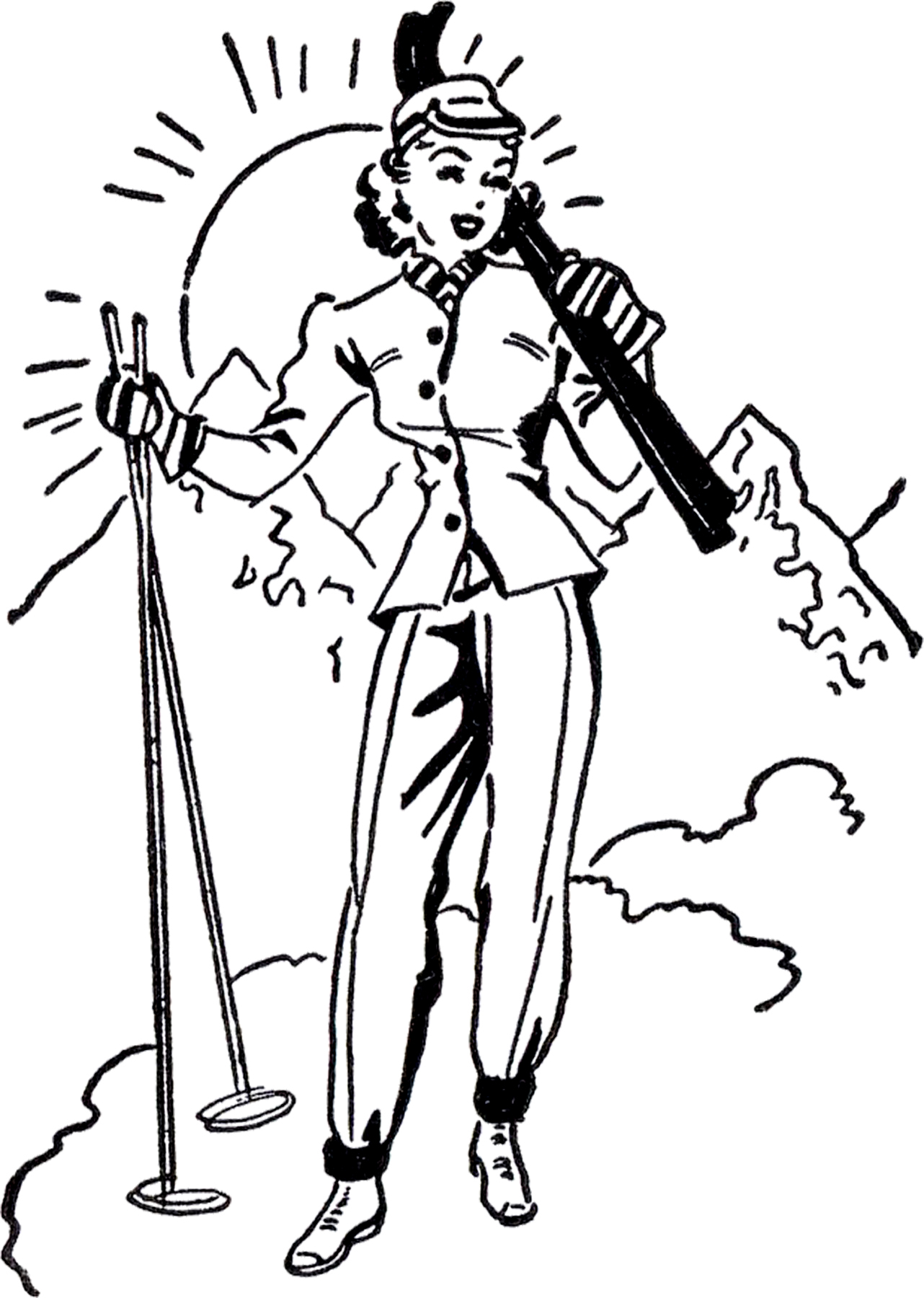 Vintage ski clipart png free download Retro Ski Lady Image! - The Graphics Fairy png free download