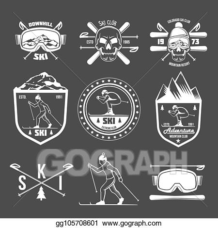 Vintage ski clipart vector free stock Vector Clipart - Set of vintage skiing labels and design ... vector free stock