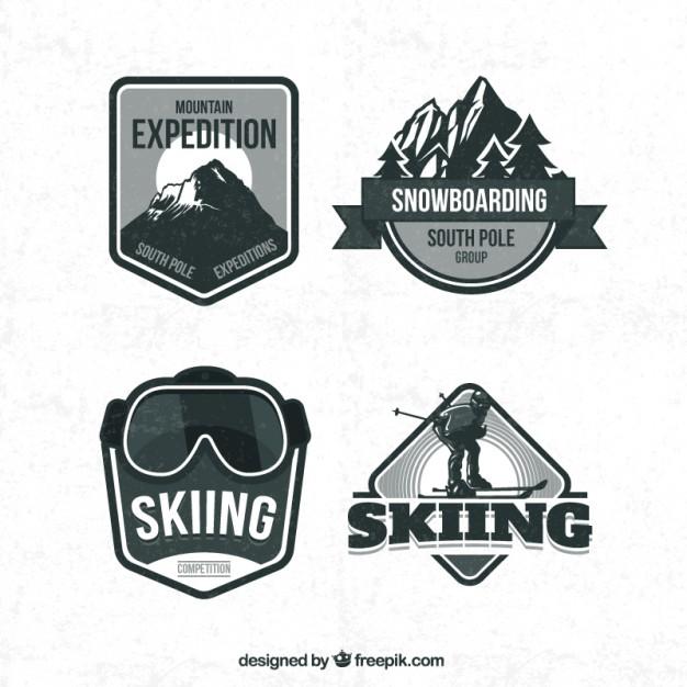 Vintage ski clipart svg royalty free Retro Ski Badges Free Vector svg royalty free
