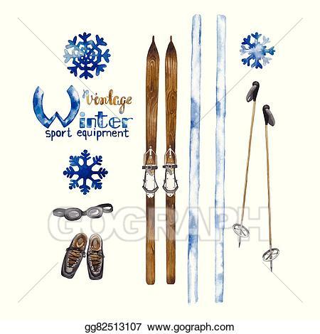 Vintage ski clipart clip transparent library EPS Illustration - Set of vintage ski equipment. Vector ... clip transparent library