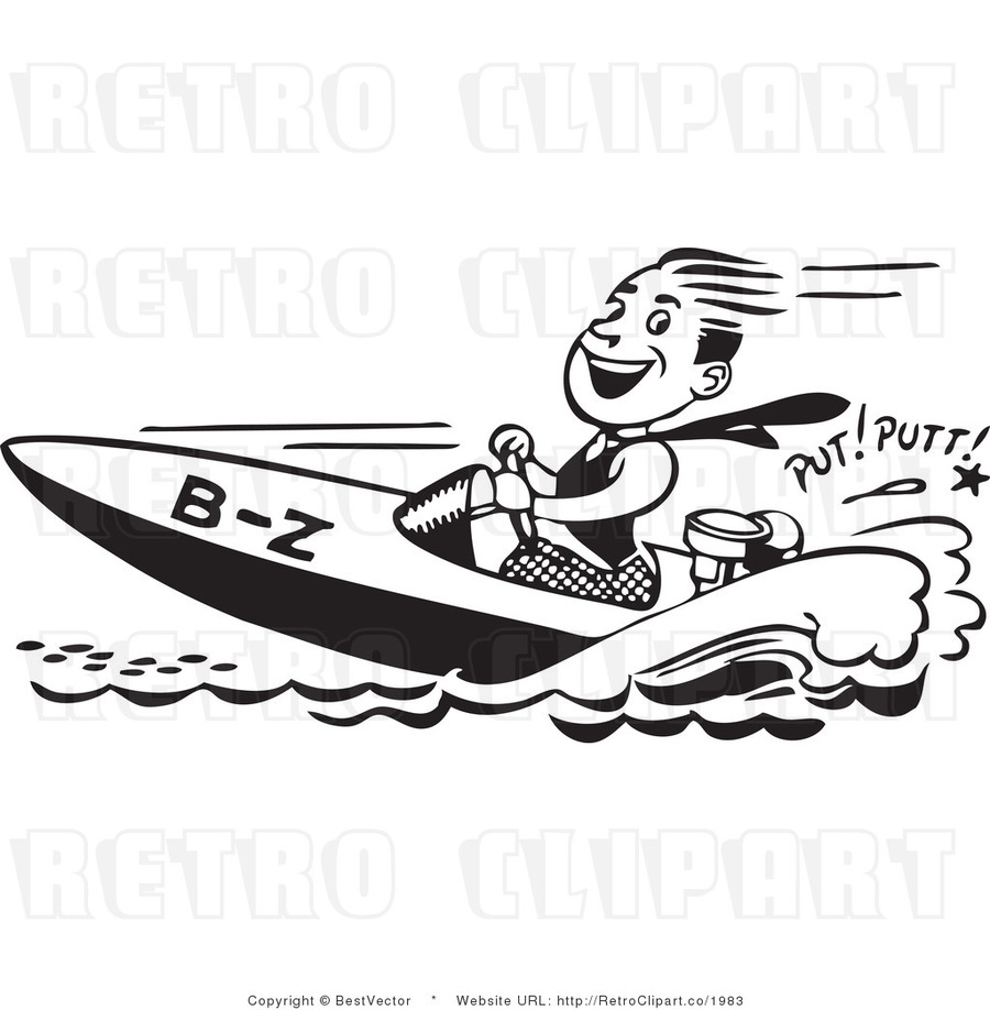 Vintage speed boat clipart clipart stock Speed Boat Cliparts - Making-The-Web.com clipart stock