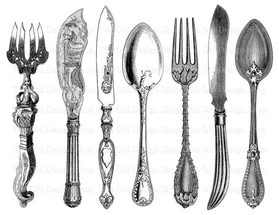 Vintage spoon and fork clipart clip black and white stock Antique Cutlery Printable Vintage Fork Knife Spoon Clip Art ... clip black and white stock