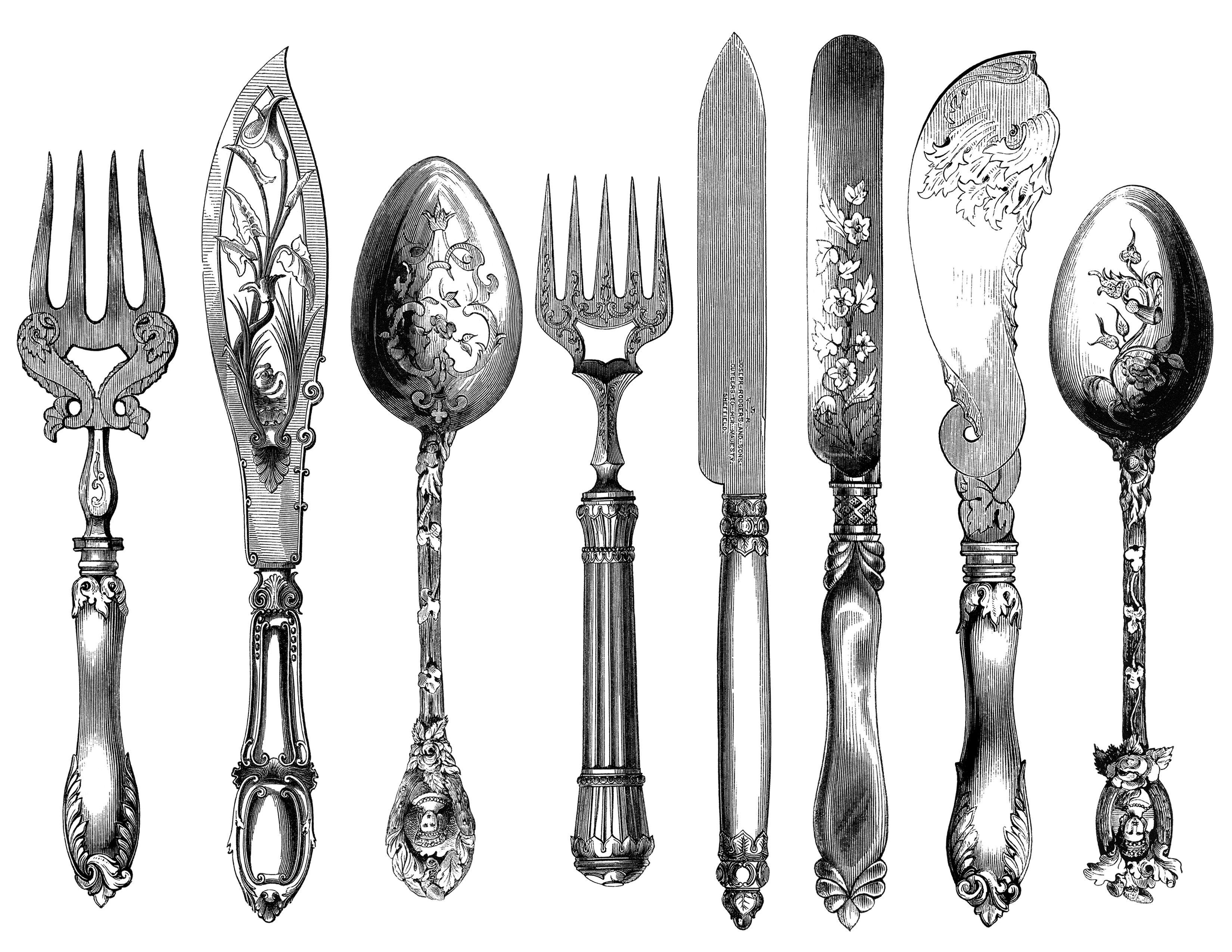 Vintage spoon and fork clipart svg freeuse download Antique Cutlery Engravings Set 2 ~ Free Clip Art - Old ... svg freeuse download