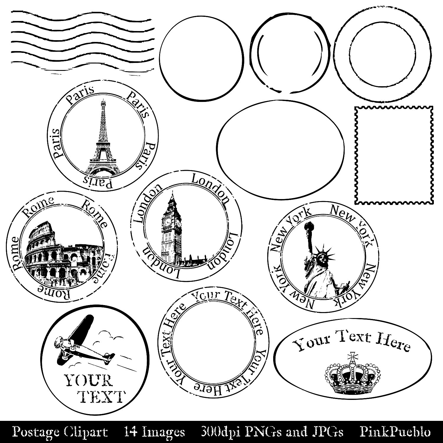 Vintage stamp clipart banner black and white library Free Vintage Travel Cliparts, Download Free Clip Art, Free ... banner black and white library