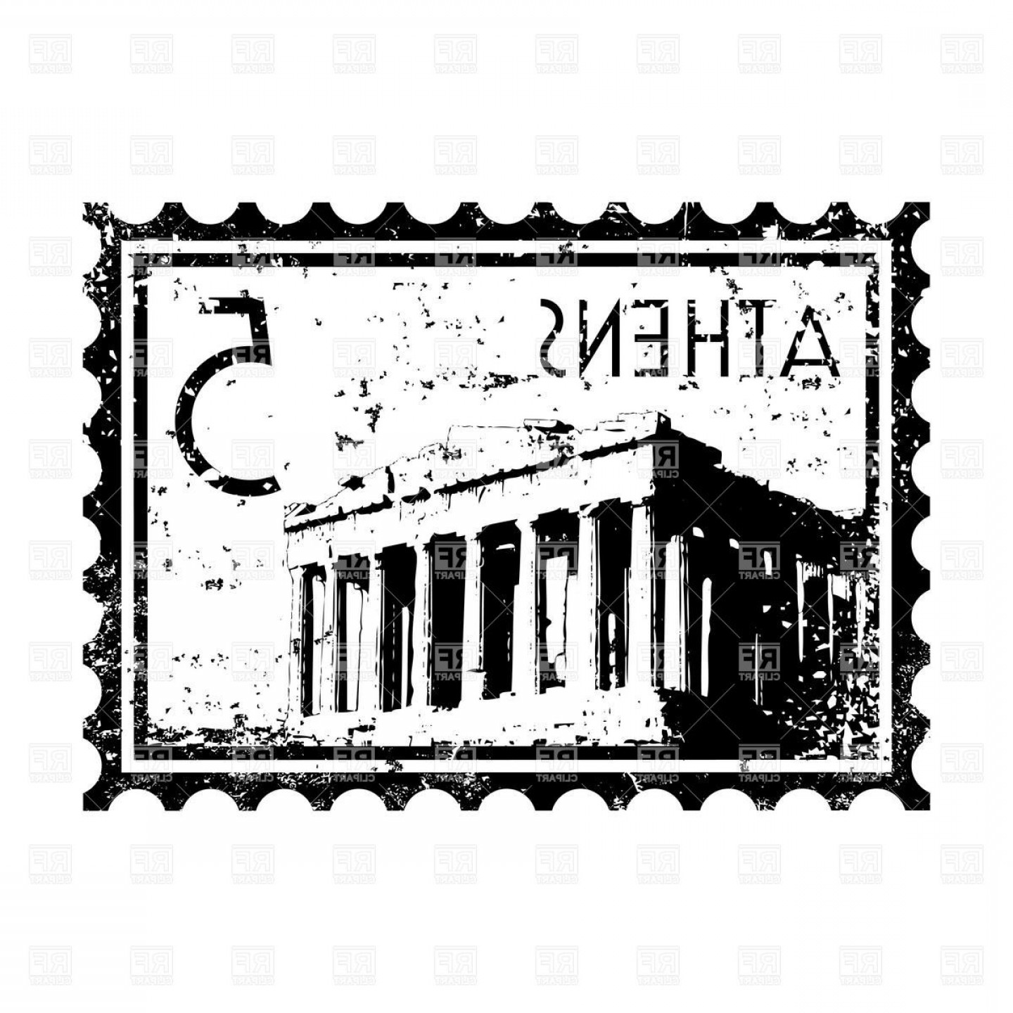 Vintage stamp clipart png transparent library Postage Stamp With Athens Symbol Acropolis Vector Clipart ... png transparent library