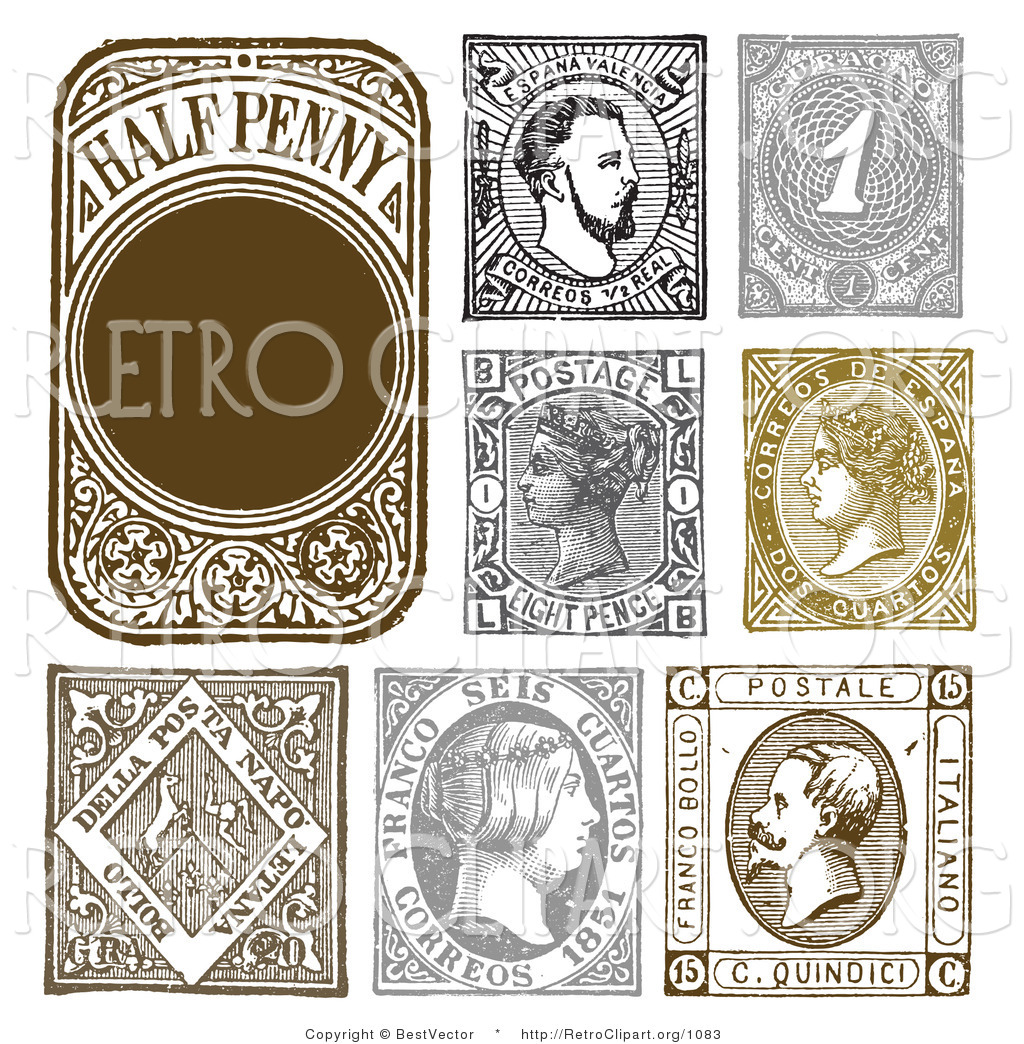 Vintage stamp clipart vector royalty free stock Vector Retro Clipart of Vintage Stamp Designs by BestVector ... vector royalty free stock