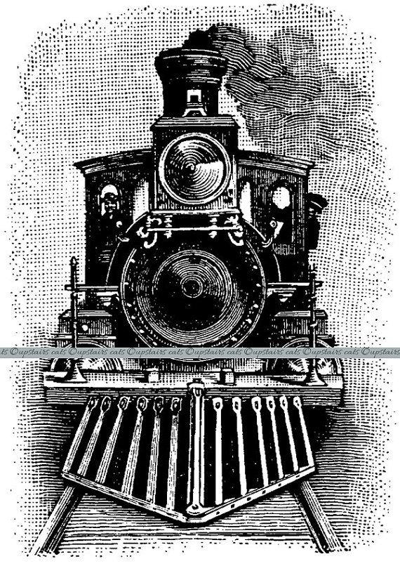 Vintage steam train clipart black and white Vintage Train Steam Engine Locomotive Clipart | Vintage ... black and white