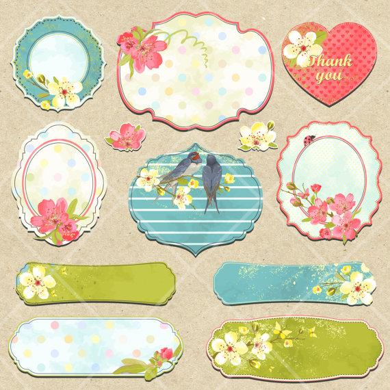 Vintage stickers clipart clip freeuse stock INSTANT DOWNLOAD Digital Spring Summer Flower Tags Labels ... clip freeuse stock